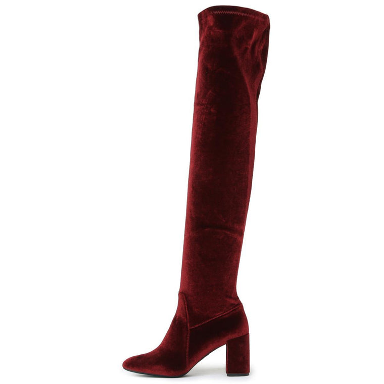 Cienega Burgundy Heeled Thigh-High Boots