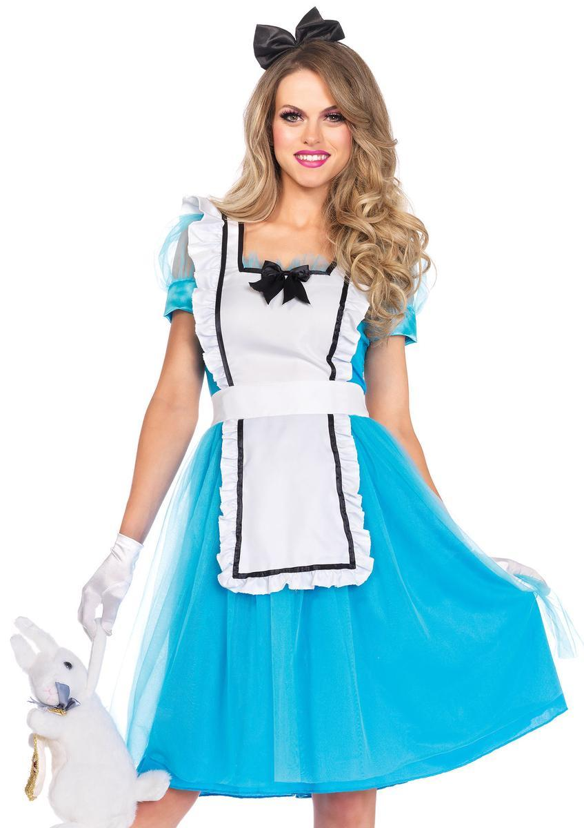 2PC.Classic Alice,apron dress,bow headband,oversized back bow in BLUE/WHITE