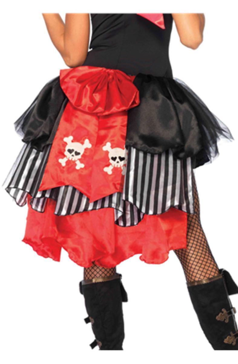 Pin-on pirate bustle with skull & crossbones bow back in BLACK/RED
