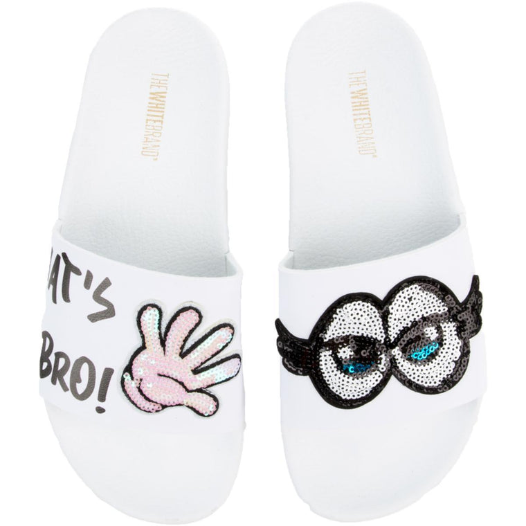 The What Up Bro Slides in White and Black