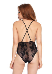 Women's Deep-V Floral Lace Teddy With