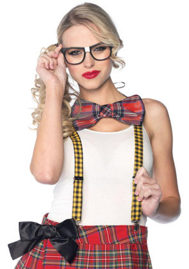 3PC.Nerd Kit,includes suspenders,bow tie,glasses in MULTICOLOR