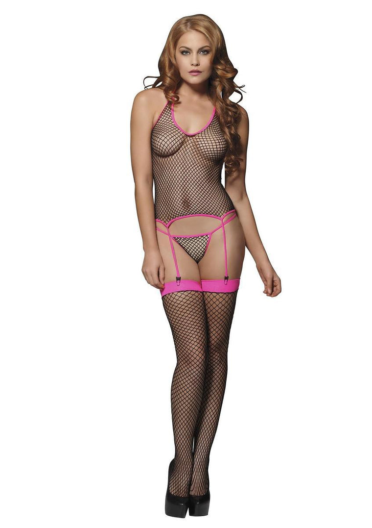 3PC.Industrial Net cami garter g-string and stockings O/S BLACK/FUSCHIA