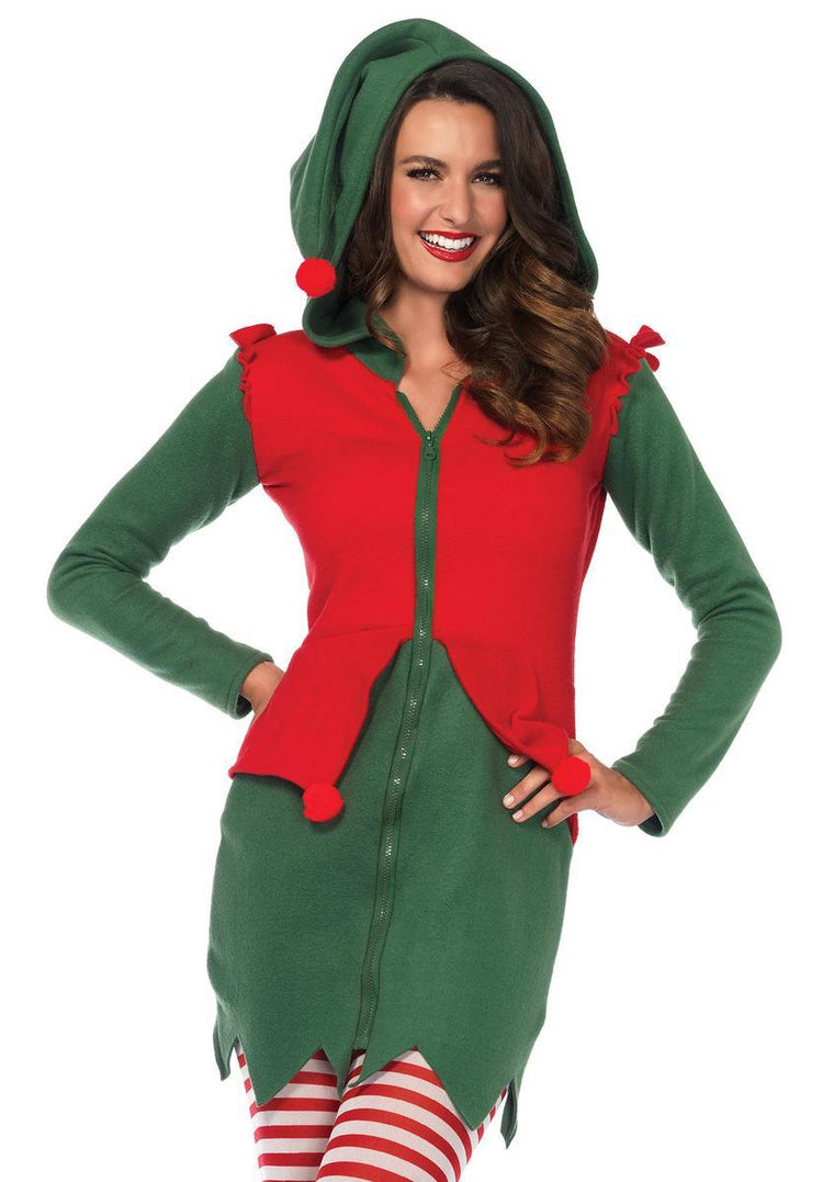 Cozy Elf,fleece dress with cute elf hood and pom pom accents