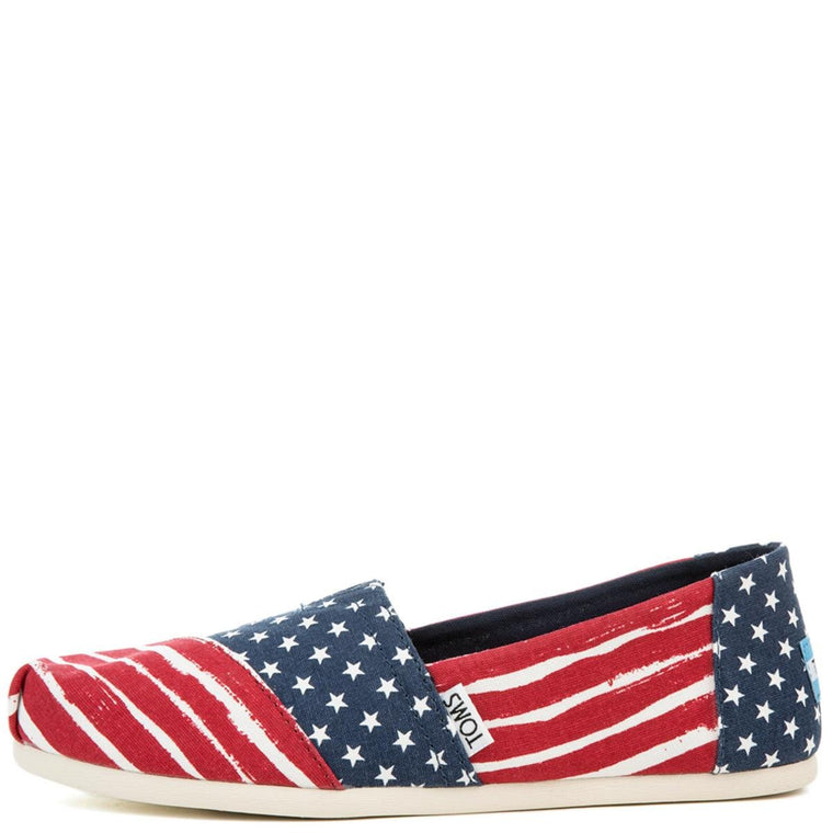 Women's Classic Americana Print Red, White, and Blue Flats
