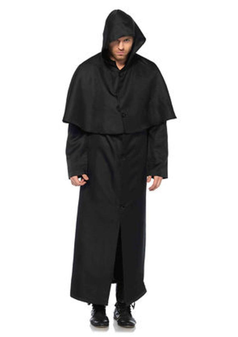 Hooded button front cloak in BLACK