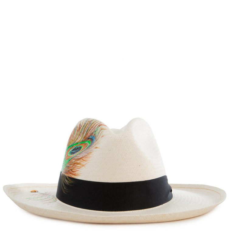 Peacock White Panama Hat Size L