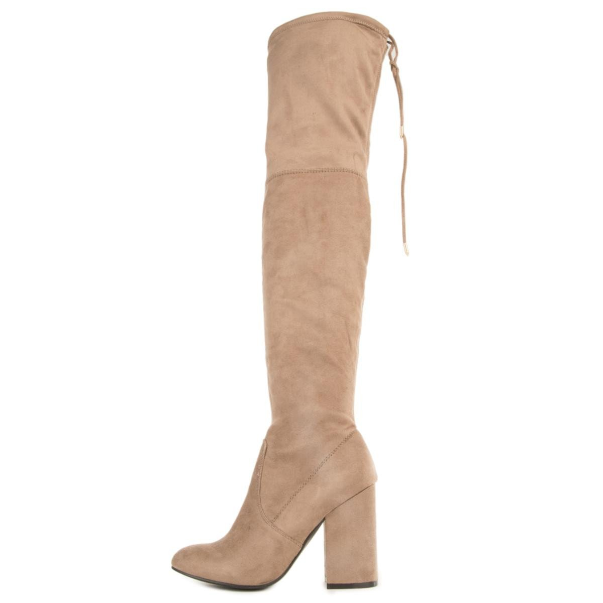 Steve Madden for Women: Norri Taupe Thigh High Heeled Boots
