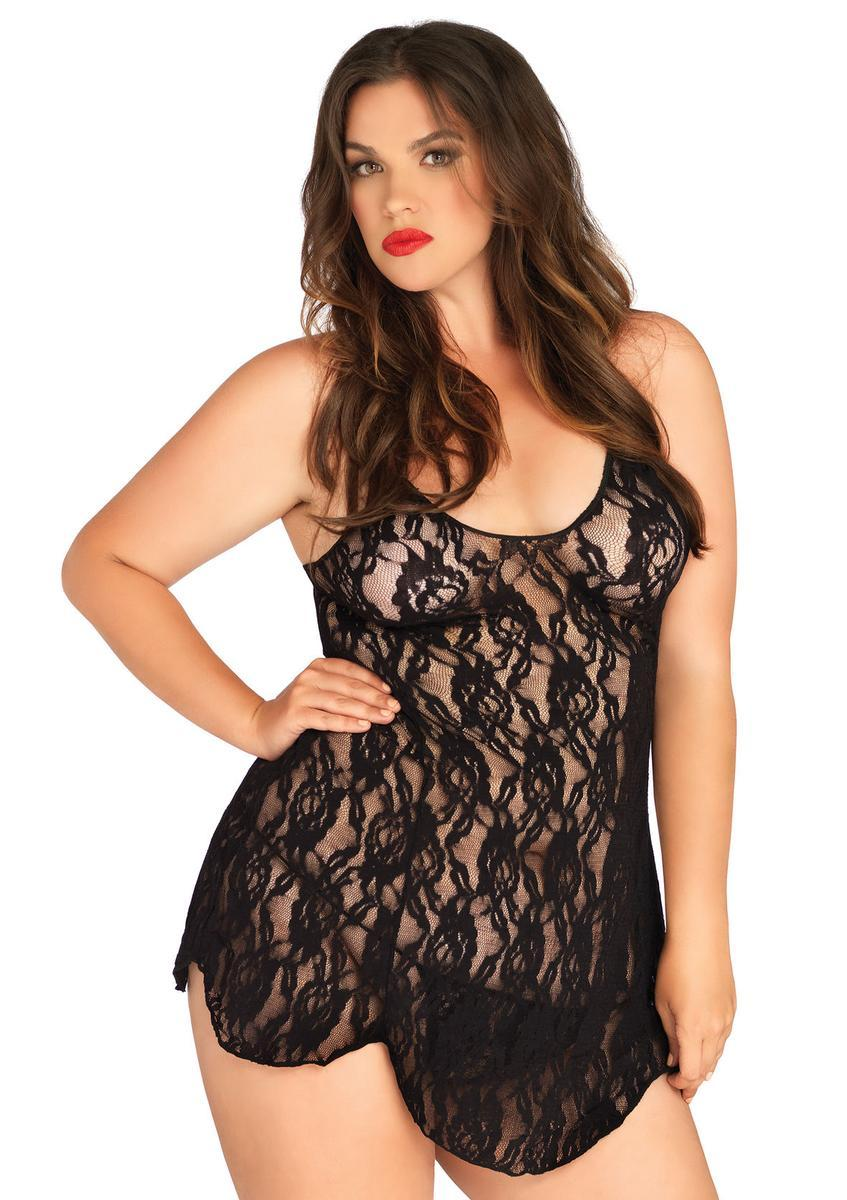 Plus Size Rose Lace Flair Chemise PLUS SI BLACK