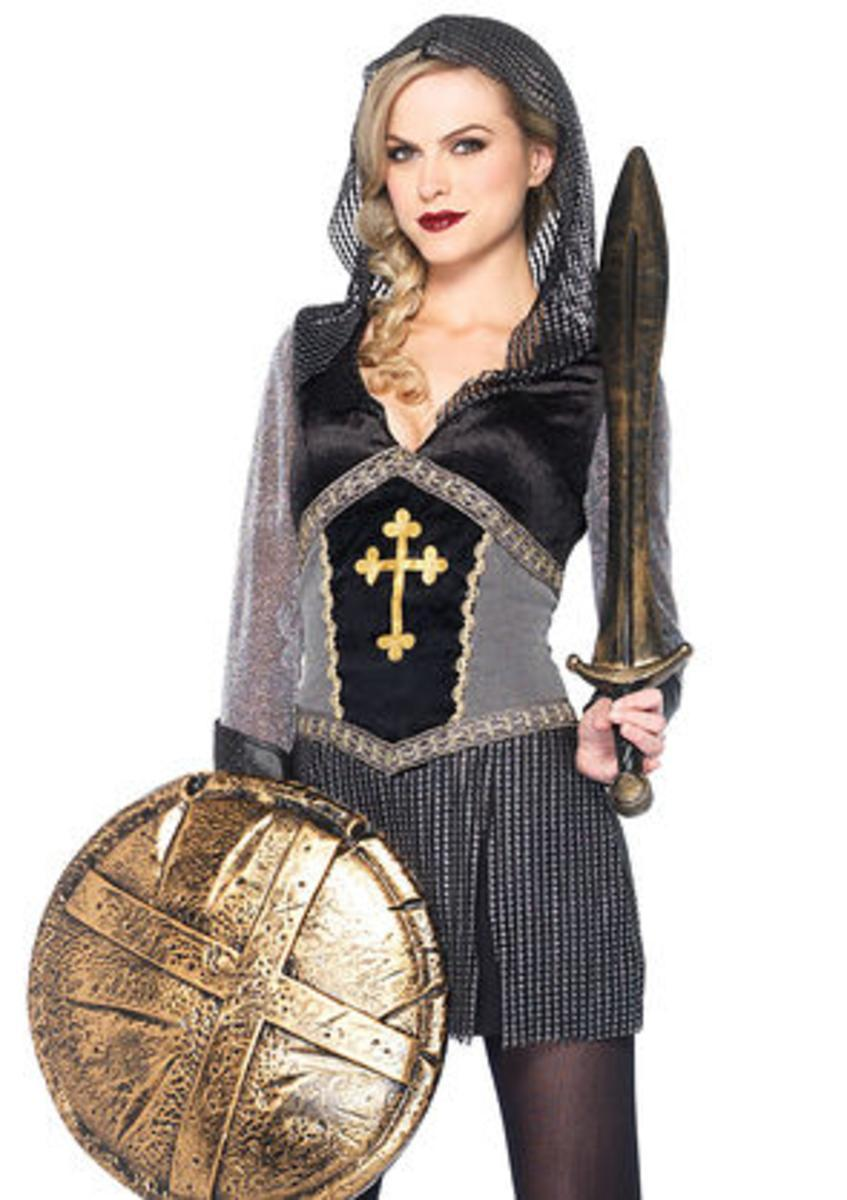 Joan of Arc,faux chainmail hooded dress w/ faux leather cuffs SMALL BLACK/SILVER
