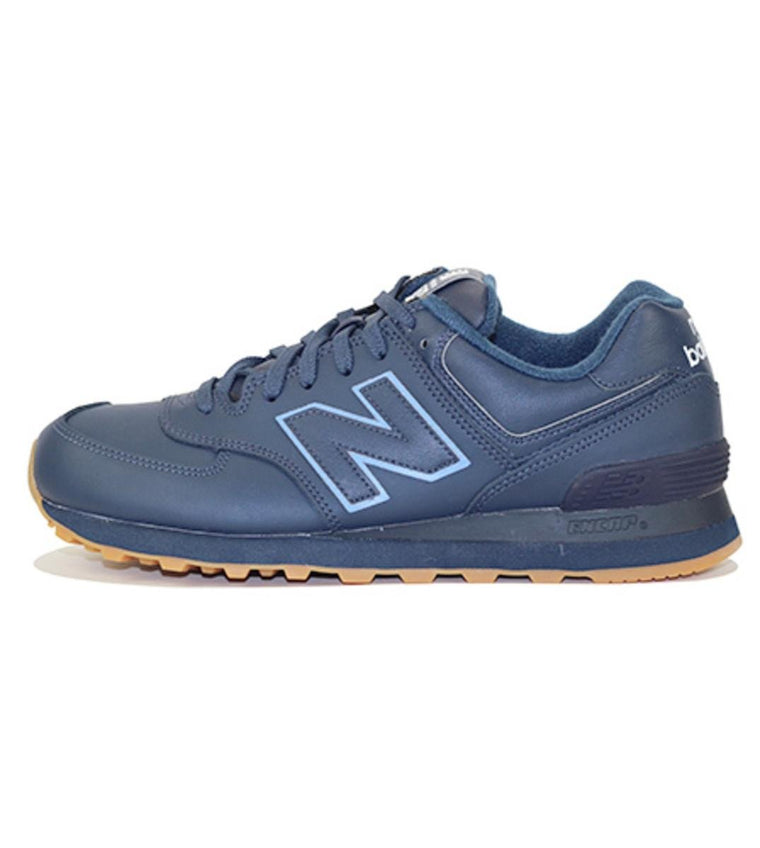 New Balance for Men: 574 Classic Leather Navy Sneakers