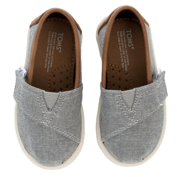 Tiny Toms Classic Frost Grey Chambray Flats