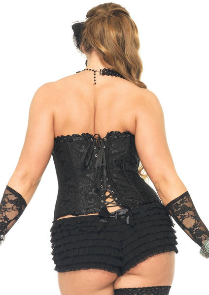 Sasha Corset, support boning and steel front busk closure in BLACK