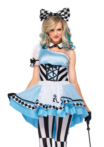 3PC.Psychedelic Alice,high/low apron dress,collar,headband in BLUE/WHITE