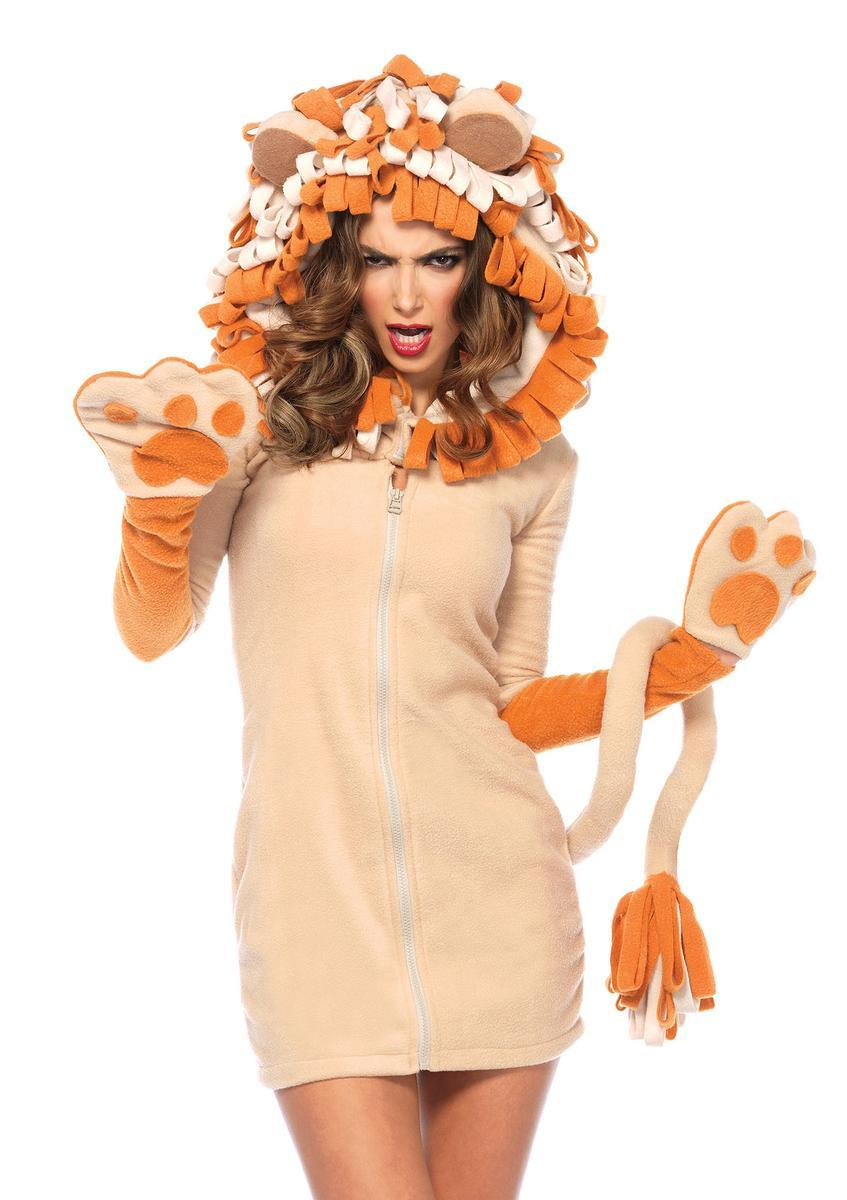 Cozy Lion,fleece dress w/paw attached tail,curly mane hood in BROWN