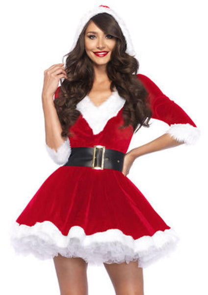 2PC.Mrs. Claus,velvet hooded dress and belt in RED/WHITE