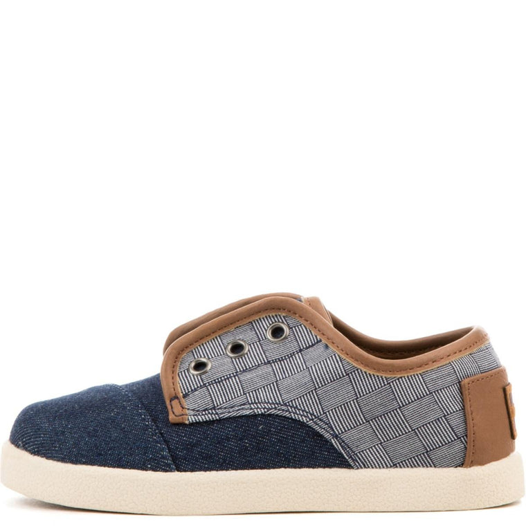 Tiny Toms: Paseos Blue Denim Textile Sneakers