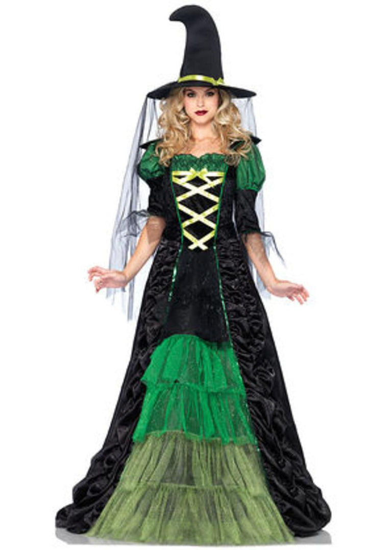 2PC.Storybook Witch,dress with tiered glitter tulle,hat w/veil in BLACK/GREEN