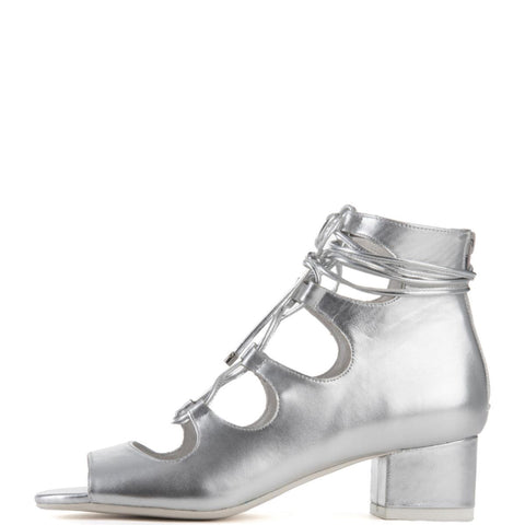 Jeffrey Campbell for Women: Astute Silver Lace-up Heel Booties