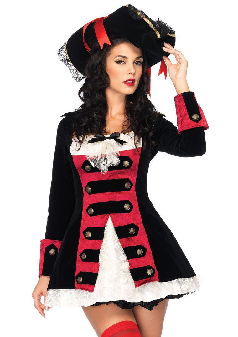Charming Pirate Captain,velvet layered waistcoat dress w/lace accent in BLACK/RED