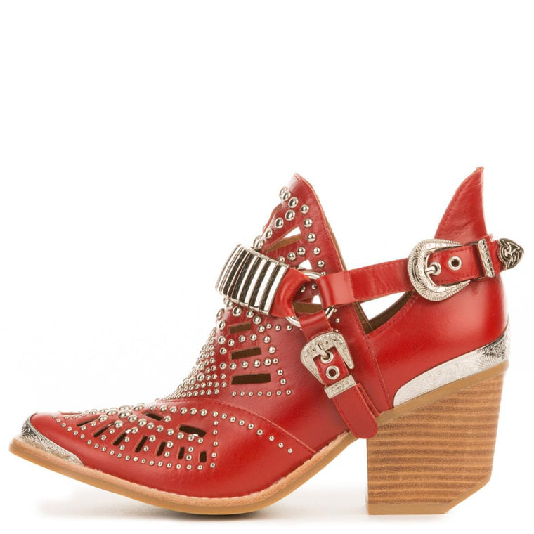 Jeffrey Campbell for Women: Calhoun-4 Red Western Heeled Booties