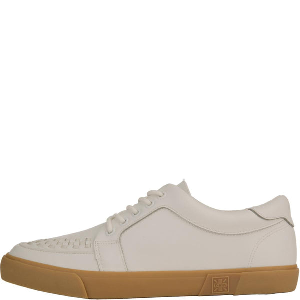 T.U.K for Men: White Leather No-Ring VLK Sneakers