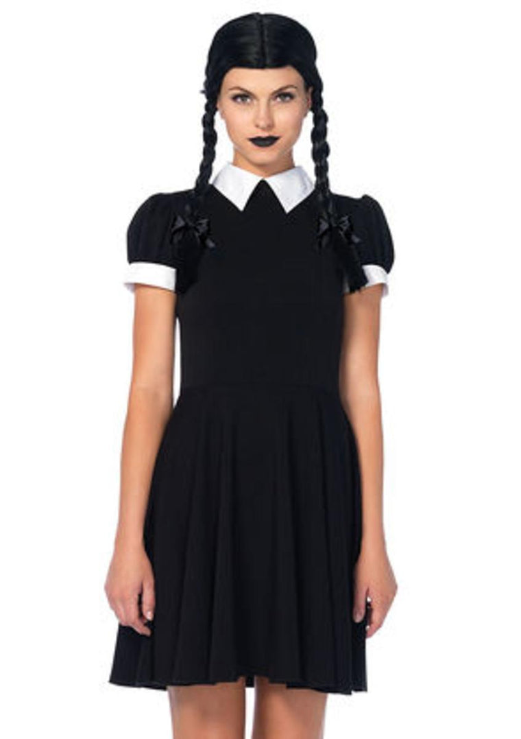 The 2PC. Gothic Darling, Classic Collared Dress, Braided Wig w/Bows in Black and White