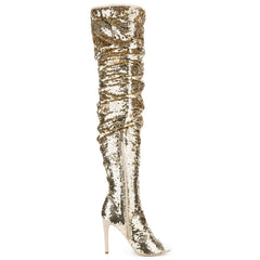 Cape Robbin Julia-1 Gold Women's High Heel Boots
