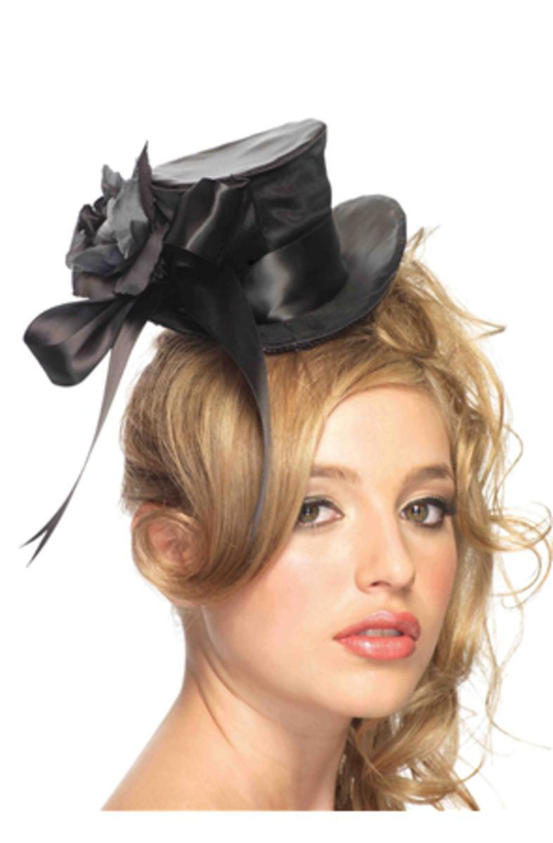 Satin top hat with flower and bow accent in BLACK
