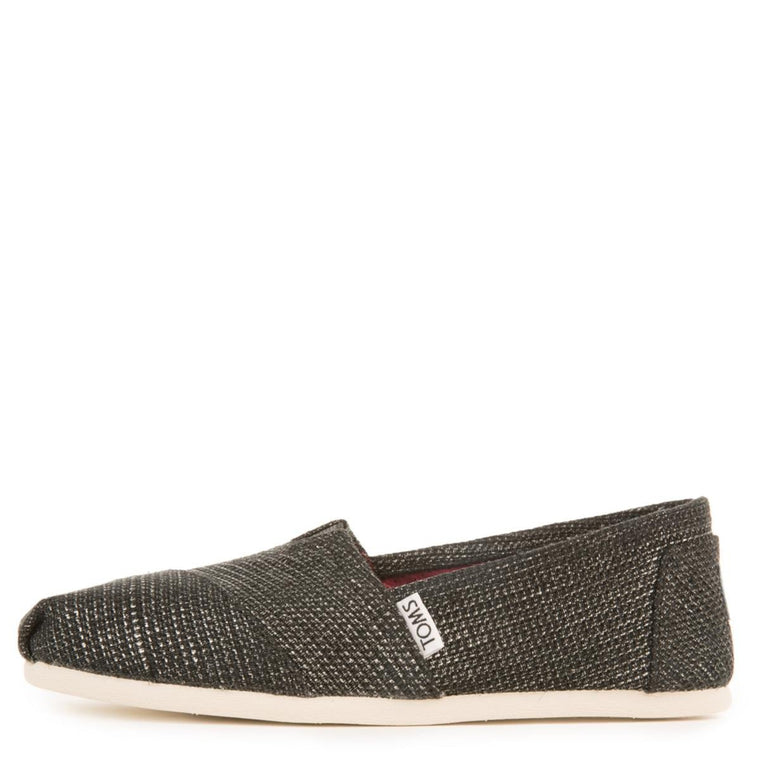 Toms for Women: Classic Seasonal Black Metallic Burlap Flats