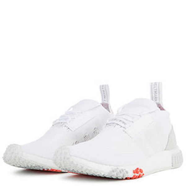 The Women's NMD Racer Primeknit in White and Trace Scarlet