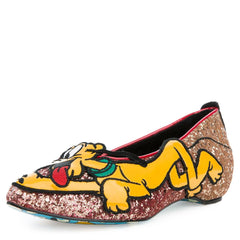Irregular Choice Mickey Mouse & Friends Collection Women's Pluto Gold Flats