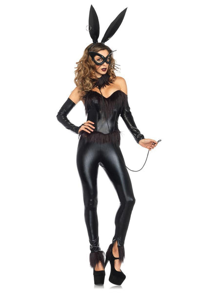 6PC.Bondage Bunny,corset,leggings,gauntlet,choker,mask,ear headband in BLACK