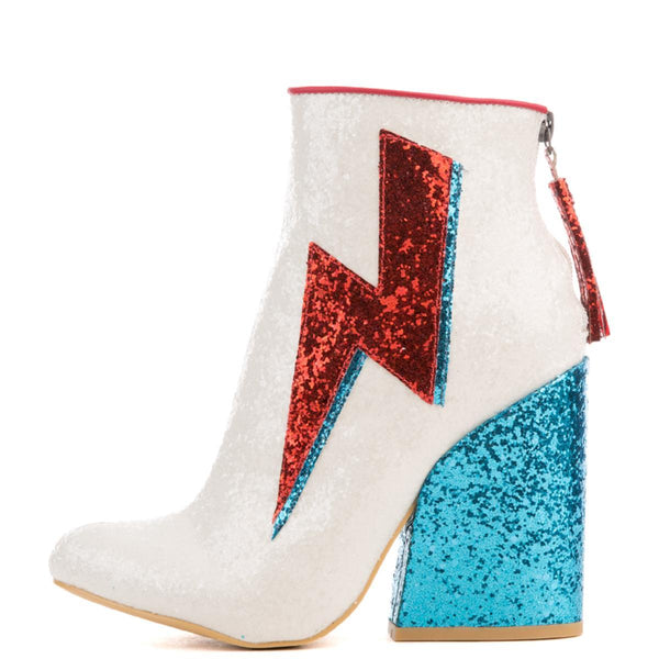 Women's Ziggy White Glitter Heeled Booties