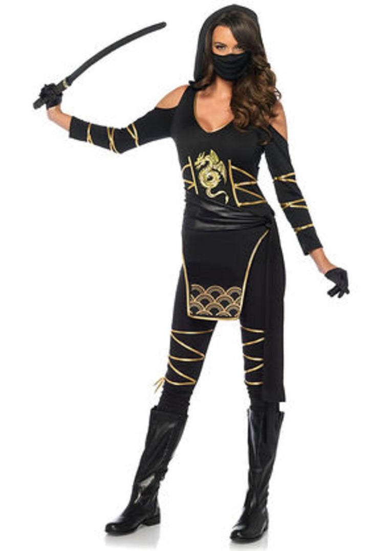 3PC.Stealth Ninja,hooded catsuit,waist sash,and face mask in BLACK/GOLD