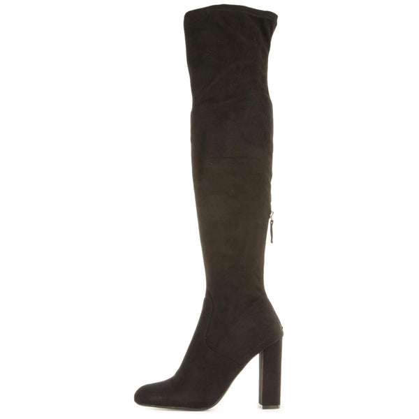 466204a0fd8 Steve Madden for Women  Emotions Black Thigh High Heeled Boots