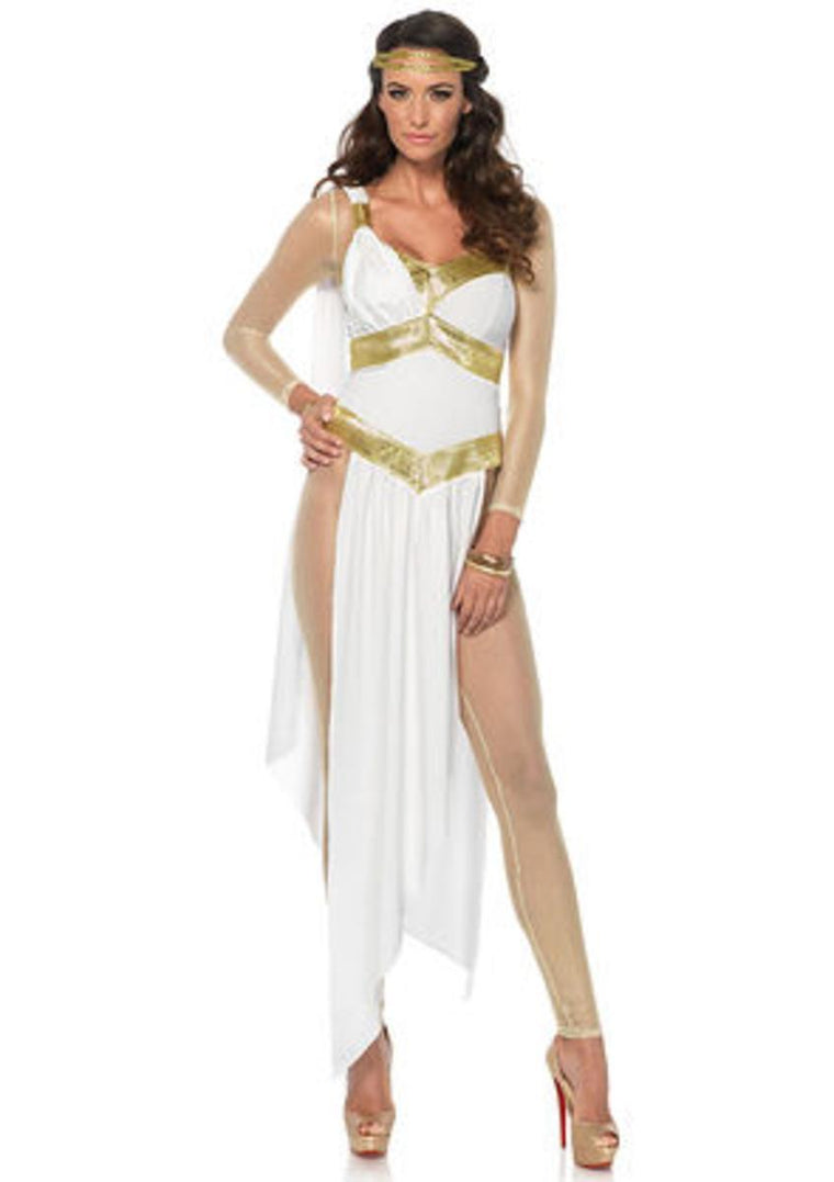 3PC.Golden Goddess,catsuit,high cut dress,head piece in WHITE/GOLD