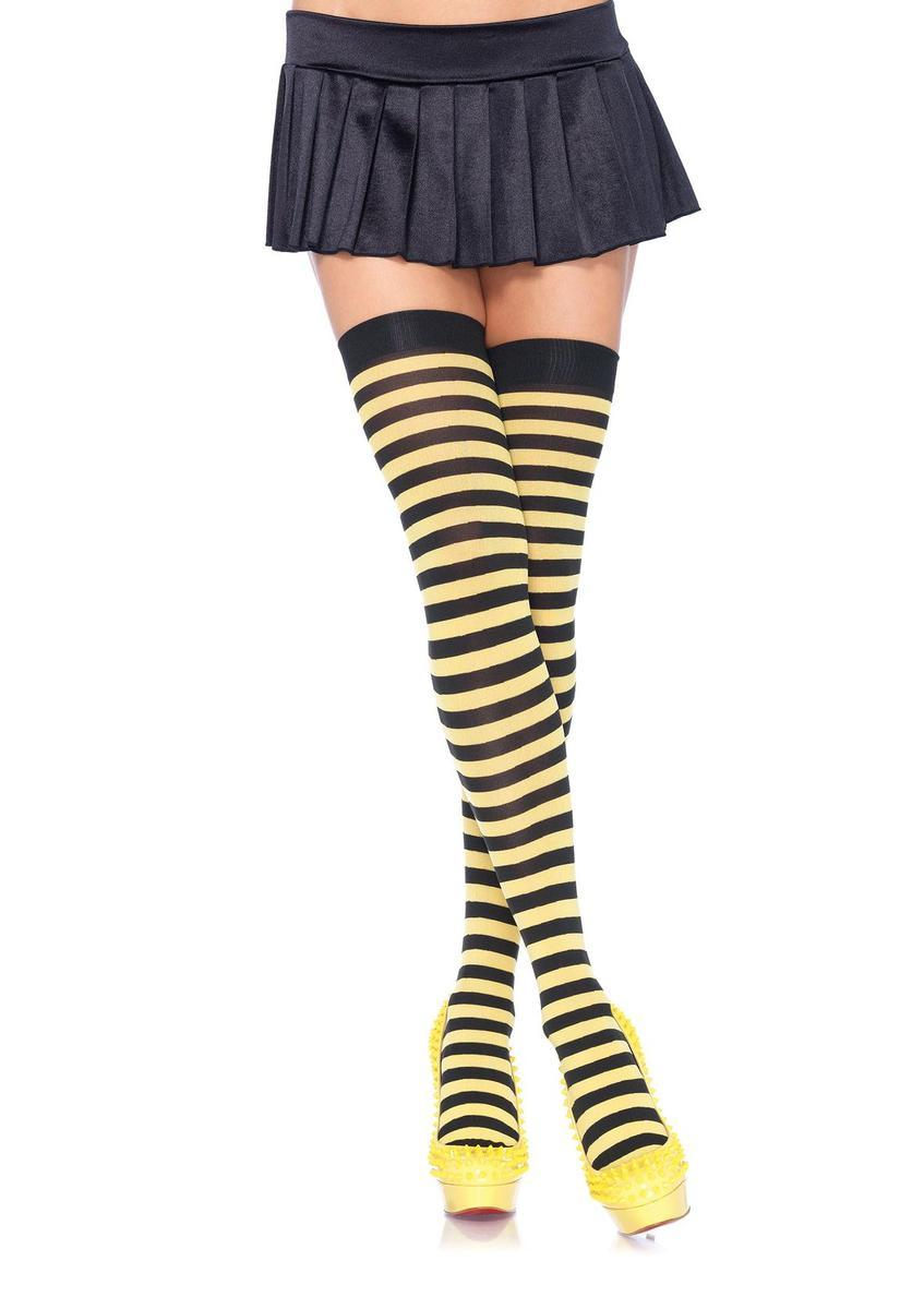 Nylon Stocking W/ Stripe O/S BLACK/YELLOW
