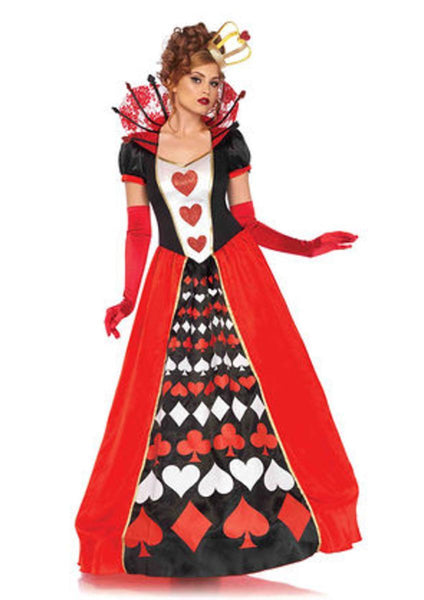 2PC.Deluxe Queen of Hearts,ball gown and matching crown in MULTICOLOR