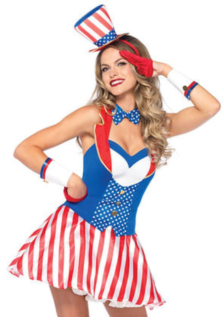 4PC.Yankee Doodle Darlin',vest dress,bow tie,wrist cuffs,hat headband in MULTICOLOR