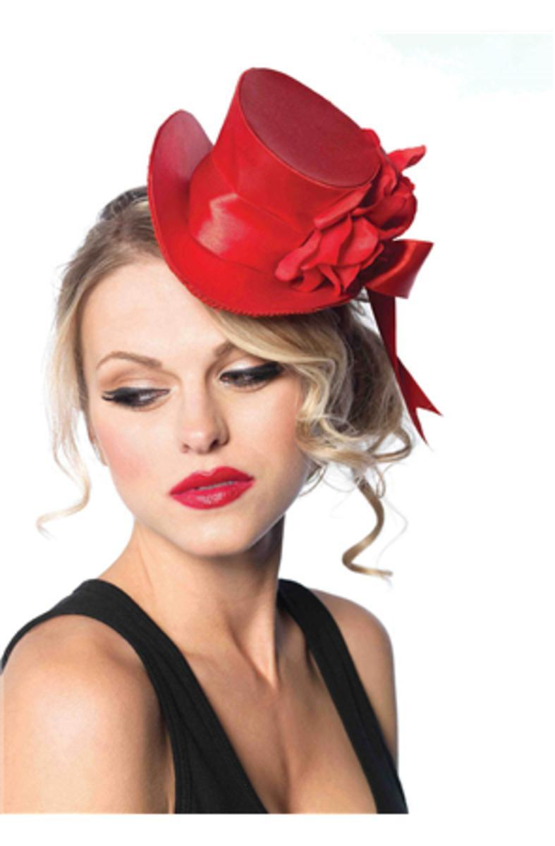 SATIN TOP HAT WITH FLOWER in RED