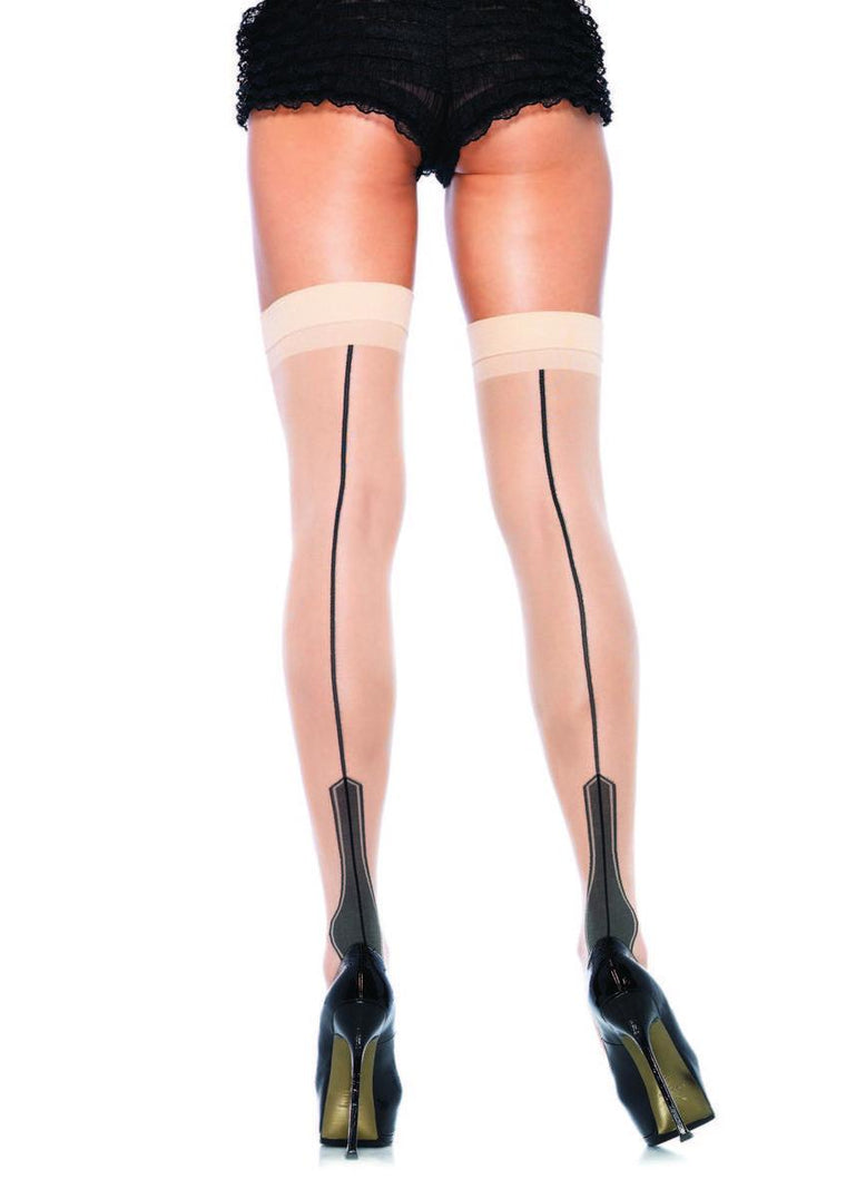 Sheer stockings with contrast havana heel backseam in NUDE/BLACK