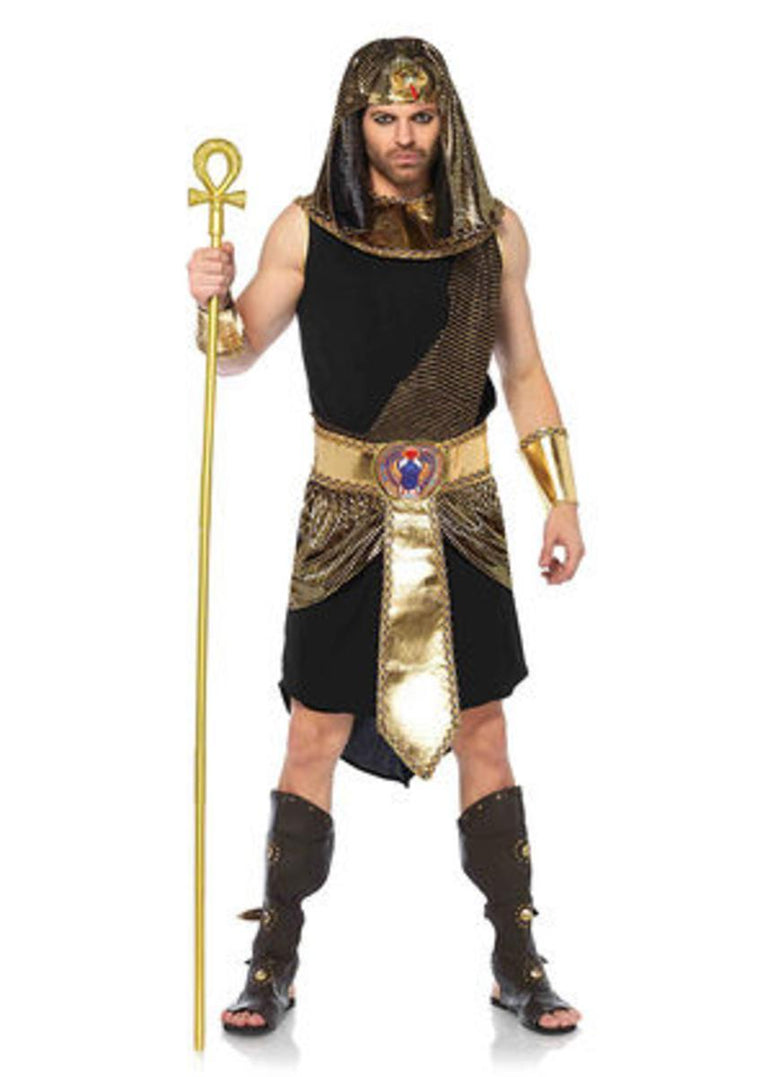 5PC.Egyptian God,shirt,belt w/skirt,wrist cuffs, collar,headpiece in BLACK/GOLD