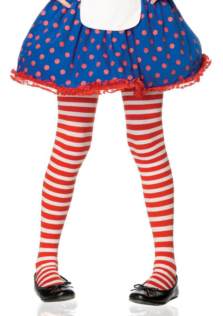 Girl Stripe Tights in RED/WHITE