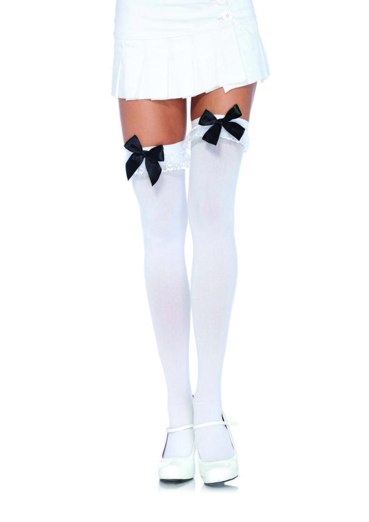 Nylon Stocking W/Bow & Lace Ruffle in WHITE/BLACK