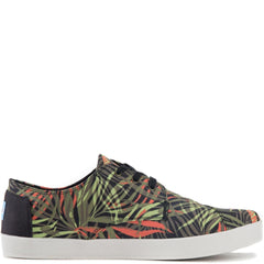 Toms for Men: Paseo Olive/Orange Multi Canvas Palm Print Sneakers