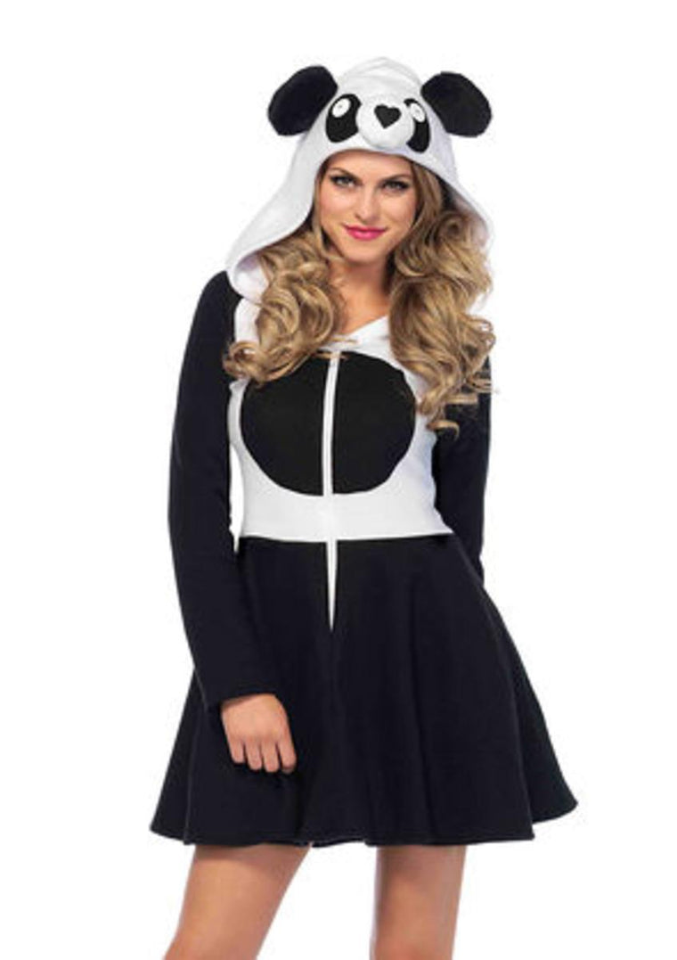 Cozy Panda, zipper front fleece dress w panda face hood and tail in BLACK/WHITE