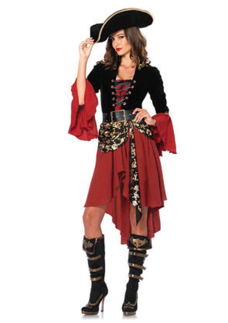 2PC.Cruel Seas Captain,high/low dress w/skull sash,belt SMALL BLACK/BURGUNDY