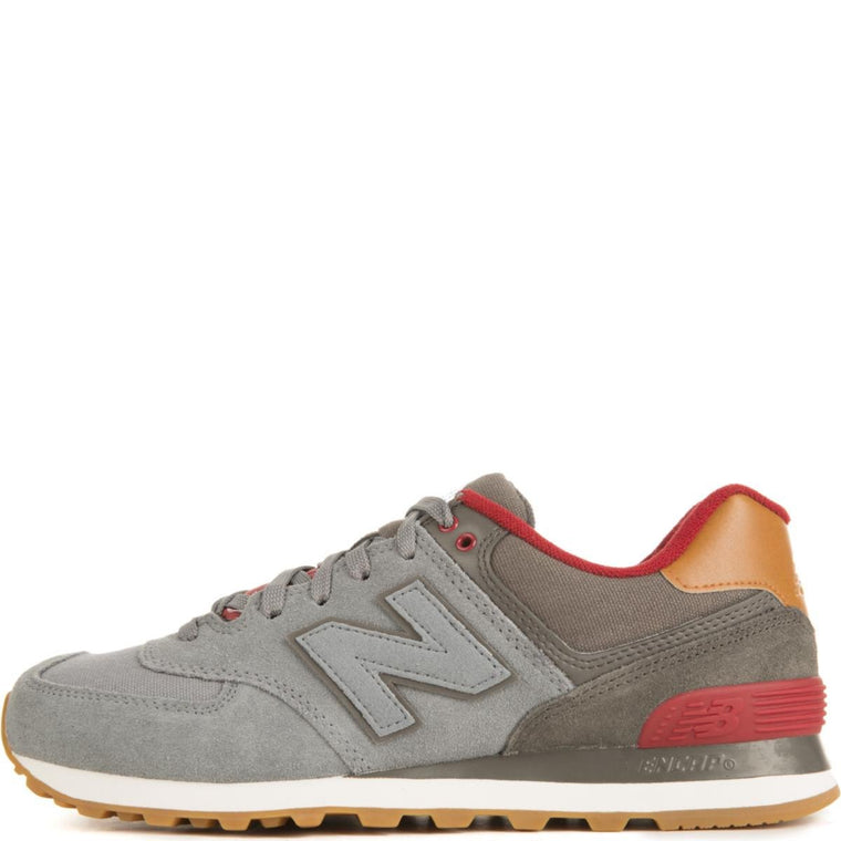 New Balance for Men: 574 Collegiate Gunmetal with Raven & Red Sneakers