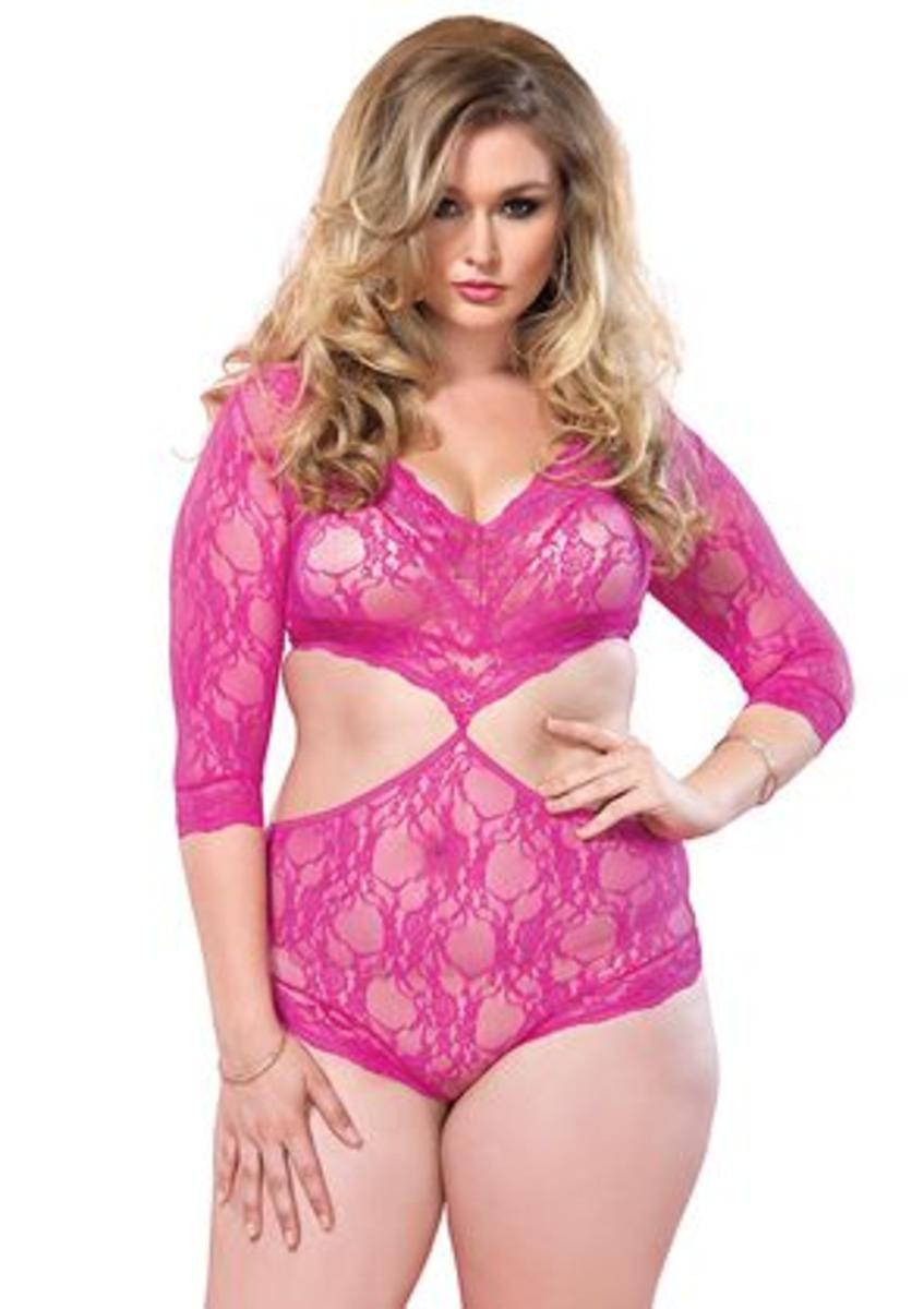 Floral lace deep-V cut out teddy with full back panty PLUS SI FUCHSIA